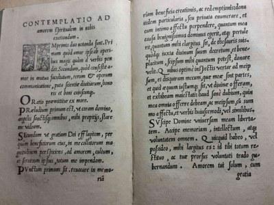 Première édition des Exercices spirituels de saint Ignace de Loyola (Ad amorem)